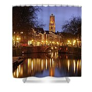 Old Canal And Dom Tower In Utrecht In The Evening 16 Shower Curtain