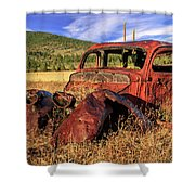 Old Car At Susanville Ranch Shower Curtain