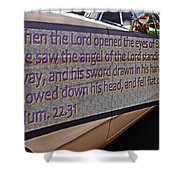 Old Car With Text Shower Curtain