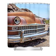 Old Cars In The Desert, Eldorado Canyon, Nevada Shower Curtain by Edward Fielding