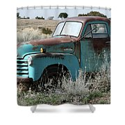 Old Chevy Farm Truck In The Field Shower Curtain
