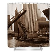 Old Chicago River Bridges Shower Curtain