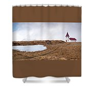 Old  Church In Hellnar, Snaefellsnes Peninsula, Iceland Shower Curtain
