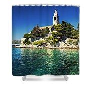 Old Church On Croatian Island Shower Curtain