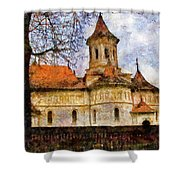 Old Church With Red Roof Shower Curtain