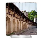 Old City Wall In St Alban Basel Switzerland Shower Curtain