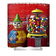 Old Clown Toy And Gum Machine  Shower Curtain by Garry Gay