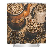 Old Coffee Brew House Beans Shower Curtain