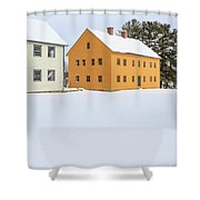 Old Colonial Wood Framed Houses In Winter Shower Curtain