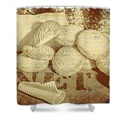 Old Cookie Tin Sign Art Shower Curtain