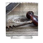 Old Corkscrew And Wine Bottle In Background On Rustic Wood Shower Curtain