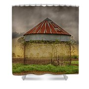 Old Corn Crib In The Cloudy Sky Shower Curtain