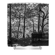 Old Couple On The Bench By The Lake Shower Curtain