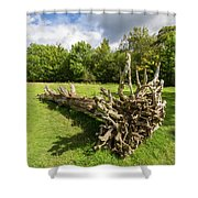 Old Cut Tree On A Meadow Shower Curtain