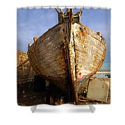 Old Dilapidated Wooden Boat  Shower Curtain