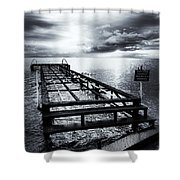 Old Dock Bw Shower Curtain
