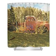 Old Dodge Truck In Garden Shower Curtain