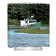Old Dog On Bass River Shower Curtain