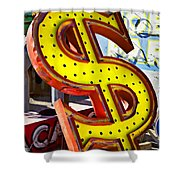 Old Dollar Sign Shower Curtain