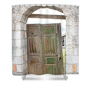Old Door In A Brick Wall Shower Curtain