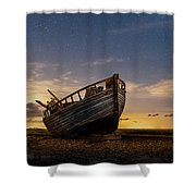 Old Dungeness Fishing Boat Under The Stars Shower Curtain