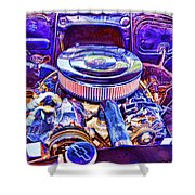 Old Engine Of American Car Shower Curtain