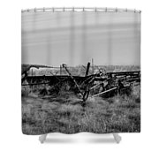Old Farm Equipment Bereft Baw Shower Curtain