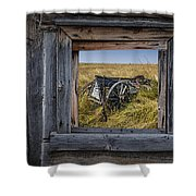 Old Farm Wagon Viewed Through A Barn Window Shower Curtain