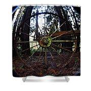 Old Farm Wagon Wheel Shower Curtain