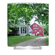 Old Farmhouse And Red Barn Shower Curtain
