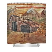 Old Farmhouse With Hay Stack In A Snow Capped Mountain Range With Tractor Tracks Gouged In The Soft  Shower Curtain