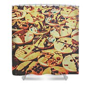 Old Fashion Landmark Buttons Shower Curtain