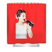 Old-fashion Pop Art Girl Drinking From Soda Bottle Shower Curtain