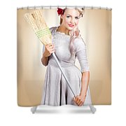 Old Fashion Woman Spring Cleaning With Broom Shower Curtain