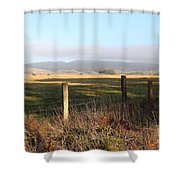 Old Fence And Landscape Along Sir Francis Drake Boulevard At Point Reyes California . 7d9965 Shower Curtain