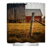 Old Fence With A Red Barn Shower Curtain