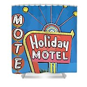 Old Fifties Vegas Hotel Sign Painting Shower Curtain