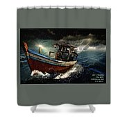 Old Fishing Boat In A Storm  L A Shower Curtain