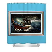 Old Fishing Boat In A Storm L B With Decorative Ornate Printed Frame. Shower Curtain