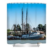 Old Fishing Boat In Port Shower Curtain