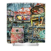 Old Fishing Gear Shower Curtain