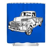 Old Flat Bed Ford Work Truck Illustration Shower Curtain