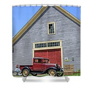 Old Ford Model A Pickup In Front Barn Shower Curtain