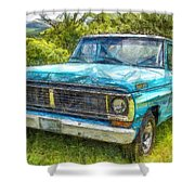 Old Ford Pick Up Truck Pencil Shower Curtain