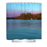 Old Forge Pond Panorama Shower Curtain