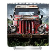 Old Forgotten Red Car Shower Curtain