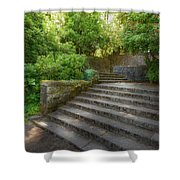 Old Garden With Stone Walls And Stair Steps Shower Curtain