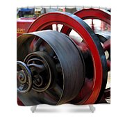 Old Gas Engine With Digital Effects Shower Curtain