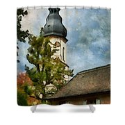 Old German Church Tower Shower Curtain
