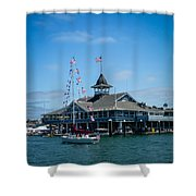 Old Glory Boat Parade Shower Curtain